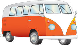 Retro camper van. A  illustration of an orange and white retro camper van Stock Image