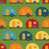 Retro Camper van seamless vector pattern. Caravans vector illustration