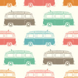 Retro camper van with surfing board. Seamless Royalty Free Stock Photography