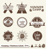 Retro Camping Labels and Stickers. Collection of vintage style camping labels and badges Royalty Free Stock Image