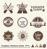 Retro Campingowe Etykietki i Majchery Obraz Royalty Free