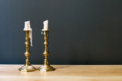Retro Candelabra With Candles In Minimalist Room Stock Photos