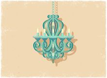Retro candle chandelier. In vintage vector style Royalty Free Stock Photo