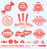 Retro Candy Shop Labels and Stickers. Collection of vintage style candy shop labels and badges Royalty Free Stock Photography
