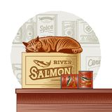 Retro canned fish and sleeping cat. On a food background in woodcut style. Vector illustration with clipping mask Stock Photo