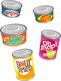 Retro canned food illustrations. Cartoon cans of food with retro labels Stock Photography