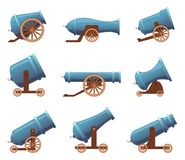 Free Retro Cannon. Vintage Military Old Iron Weapons Medieval Circus Artillery Vector In Cartoon Style Royalty Free Stock Image - 130742966