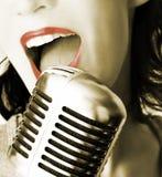 Retro cantante Fotografie Stock Libere da Diritti