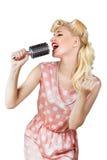 Retro cantante della ragazza Immagine Stock Libera da Diritti