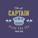 Retro capitano di mare Vector Label o Logo Template Immagine Stock Libera da Diritti