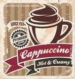 Retro cappuccino poster on old paper texture Royalty Free Stock Photo