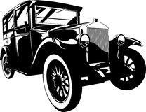 Retro car. Vector illustration of a retro car black and white Royalty Free Stock Photo