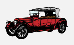 Retro car. Vector illustration of red retro car isolated on white background Royalty Free Stock Photos