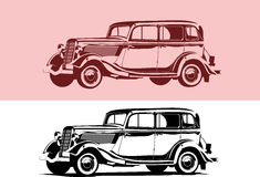 Retro car. Vector black and white illustration of a retro car Royalty Free Stock Photo