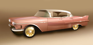 Retro car. A picture of retro car with gold wheels Royalty Free Stock Photos