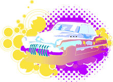 Retro Car 2. Abstract duo tone illustration of vintage car with circular elements Royalty Free Stock Photography