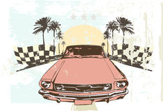 Retro car. Vector illustration - High speed racing car on grunge background Stock Images