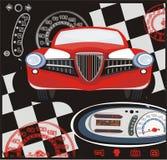 Retro car. Retro red car on the black background Royalty Free Stock Photo