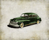 Retro car - American classics. Green antique automobile. Over hatched background Royalty Free Stock Photography