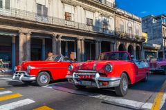 Retro car as taxi with tourists in Havana Cuba royalty free stock photo