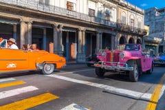 Retro car as taxi with tourists in Havana Cuba royalty free stock photos