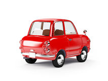 Retro car 1960 back. Retro car red in 60s style on a white background. Back view. 3d illustration royalty free illustration