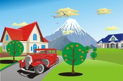 Retro car on a background of a mountain range stock illustration