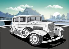 Retro car on a background of mountains and metropolis. Vector illustration Royalty Free Stock Photos