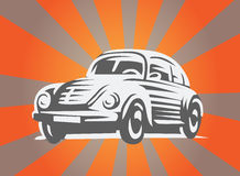 Retro Car on the beamed background. Vector Illustration. Retro Car on the beamed background. Black and white design Stock Photos