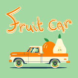 Retro car with big fruits. Vector cool colorful flat illustration, retro car with big fruits Royalty Free Stock Images