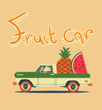 Retro car with big fruits. Vector cool colorful flat illustration, retro car with big fruits Stock Image
