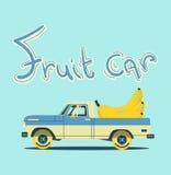 Retro car with big fruits. Vector cool colorful flat illustration, retro car with big fruits Stock Photos