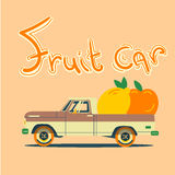 Retro car with big fruits. Vector cool colorful flat illustration, retro car with big fruits Stock Photography