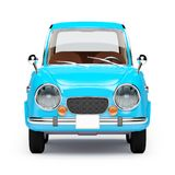 Retro car 1960 cartoon front. Retro car blue in 60s style, front view, isolated on a white background. 3d illustration stock illustration