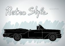 Retro car cabriolet vector draw isolated illustration. Retro car cabriolet technical draw isolated on white vector illustration