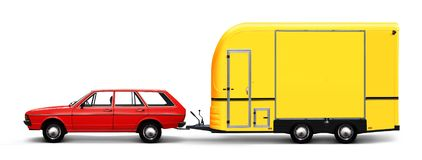 Retro car and camper van. 3D illustration of red retro car and yellow camper van isolated on white background stock illustration