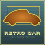 Retro car card with cut out effect. Vector illustration Royalty Free Stock Photo