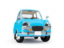 Retro car 1960 cartoon. Retro car blue in 60s style isolated on a white background. 3d illustration stock illustration