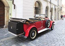 Retro car in the center of Prague. Royalty Free Stock Image
