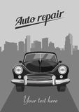 Retro car on city background. Vector illustration. Retro car on city background Royalty Free Stock Photo
