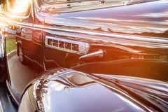 Retro car.Close-up of headlights of vintage car. Exhibition.Vintage car headlights royalty free stock photos