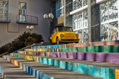 Retro car on the color levels. Near the store. Dnipro City. Ukraine stock photos