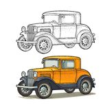 Retro car coupe. Side view. Vintage color engraving. Illustration for poster, web. Isolated on white background. Hand drawn design element vector illustration