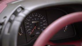 Retro car dashboard stock video footage