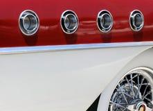Retro car detail. Closeup of a 50-s era car royalty free stock images