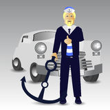 Retro car. Driver captain anchor stop Royalty Free Stock Image