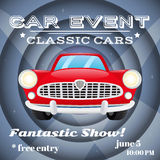 Retro car event poster Royalty Free Stock Images