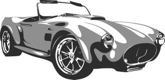 Retro car in  format 2. Retro car in  format in black and gray interpretation Royalty Free Stock Image