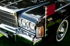 Retro car front view. Retro car front closeup view royalty free stock image