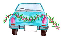 Retro car with garland royalty free stock photo
